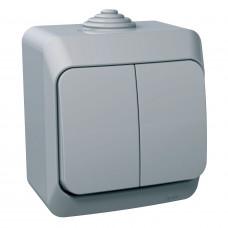 Вимикач двохклавішний, Сірий, Cedar Plus WDE000650