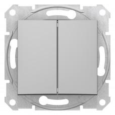 Двохклавішний вимикач 10А-250В, Алюміній, Sedna SDN0300160