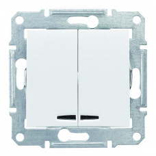 Двухклавишный выключатель с синейподсветкой 10А-250В, Белый, Sedna SDN0300321
