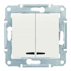Двухклавишный выключатель с синейподсветкой 10А-250В, Слоновая кость, Sedna SDN0300323