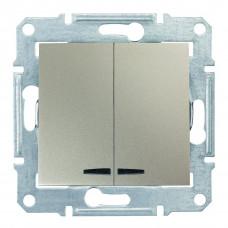 Двухклавишный выключатель с синейподсветкой 10А-250В Титан, Sedna SDN0300368