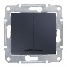 Двохклавішний вимикач з синьоюпідсвіткою 10А-250В Графіт, Sedna SDN0300370