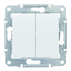 Двухклавишный выключатель10А-250В, IP44, Белый, Sedna SDN0300421
