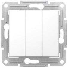 Трехклавишный выключатель10А-250В, Белый, Sedna SDN0300621