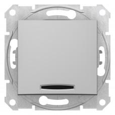 Одноклавишный перекрестный переключатель с синейподсветкой 10А-250В, Алюминий, Sedna SDN0501160