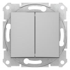 Двухклавишный переключатель10А-250В, Алюминий, Sedna SDN0600160