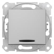 Одноклавішний вимикач з синьою підсвіткою 10А-250В, Алюміній, Sedna SDN1400160