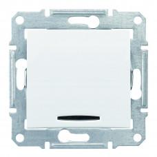 Одноклавишный переключатель с синейподсветкой 10А-250В, Белый, Sedna SDN1500121