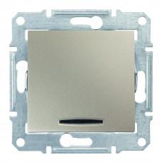 Одноклавишный переключатель с синейподсветкой 10А-250В Титан, Sedna SDN1500168