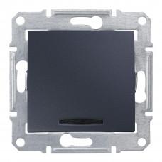 Одноклавішний перемикач з синьоюпідсвіткою 10А-250В Графіт, Sedna SDN1500170