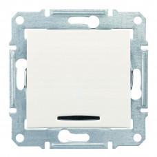 Одноклавишный кнопочный выключатель с синейподсветкой, Слоновая кость, Sedna SDN1600123