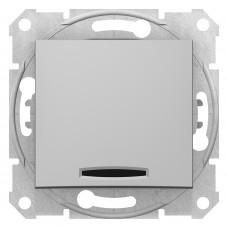 Одноклавишный кнопочный выключатель с синейподсветкой, Алюминий, Sedna SDN1600160