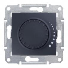 Світлорегулятор поворотно-натискний індуктивний, 230 В, 60-500 Вт/ВА, прохідний, Графіт, Sedna SDN2200570