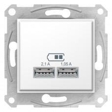Розетка USB подвійна, Білий, Sedna SDN2710221