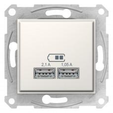 Розетка USB подвійна, Слонова кістка, Sedna SDN2710223