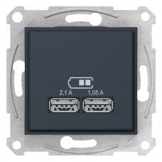 Розетка USB подвійна, Графіт, Sedna SDN2710270
