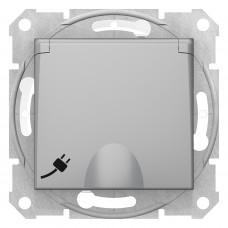 Розетка силоваіз заземленням16A - 250В з зах. шторками та кришкою IP44, гвинтові, Алюміній, Sedna SDN3100360