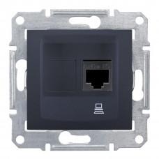 Комп'ютерна розетка RJ45, кат. 5e, неэкр. UTP з пружинними затискачами Графіт, Sedna SDN4300170