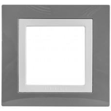 Рамка 1-постовая, Серый техно / Белый, Unica Basic MGU2.002.858