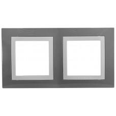Рамка 2-постовая, Серый техно / Белый, Unica Basic MGU2.004.858