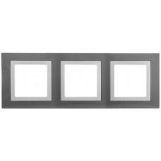 Рамка 3-постовая, Серый техно / Белый, Unica Basic MGU2.006.858