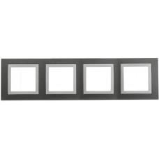Рамка 4-постовая, Серый техно / Белый, Unica Basic MGU2.008.858