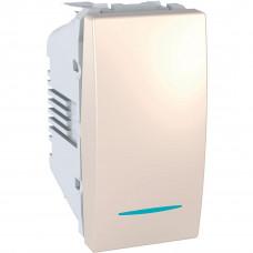 Одноклавишный выключатель с инд.ламп 10А, 1 модуль, Слоновая кость, Unica MGU3.101.25N