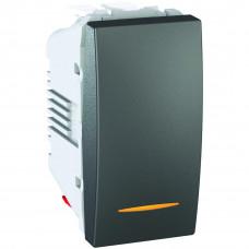 Одноклавишный переключатель с контр.ламп 10А, 1 модуль, Графит, Unica MGU3.103.12S