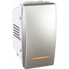 Одноклавишный переключатель с контр.ламп 10А, 1 модуль, Алюминий, Unica MGU3.103.30S