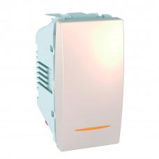 Одноклавишный выключатель с контр.ламп 16А, 1 модуль, Слоновая кость, Unica MGU3.161.25S