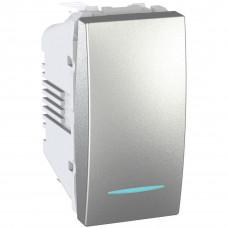 Одноклавишный выключатель с инд.ламп 16А, 1 модуль, Алюминий, Unica MGU3.161.30N