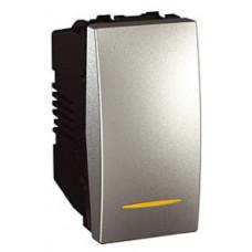 Одноклавишный выключатель с контр.ламп 16А, 1 модуль, Алюминий, Unica MGU3.161.30S