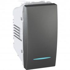 Одноклавишный переключатель с инд.ламп 16А, 1 модуль, Графит, Unica MGU3.163.12N
