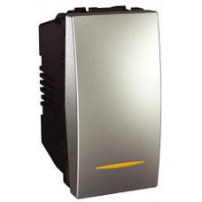 Одноклавишный переключатель с контр.ламп 16А, 1 модуль, Алюминий, Unica MGU3.163.30S
