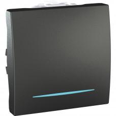 Одноклавишный выключатель с инд.ламп 10А, 2 модуля, Графит, Unica MGU3.201.12N