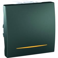 Одноклавишный выключатель с контр.ламп 10А, 2 модуля, Графит, Unica MGU3.201.12S