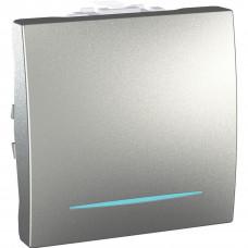 Одноклавишный выключатель с инд.ламп 10А, 2 модуля, Алюминий, Unica MGU3.201.30N