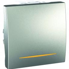 Одноклавишный выключатель с контр.ламп 10А, 2 модуля, Алюминий, Unica MGU3.201.30S