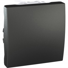 Одноклавишный переключатель 10А, 2 модуля, Графит, Unica MGU3.203.12