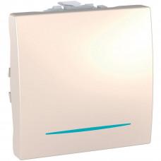 Одноклавишный переключатель с инд.ламп 10А, 2 модуля, Слоновая кость, Unica MGU3.203.25N