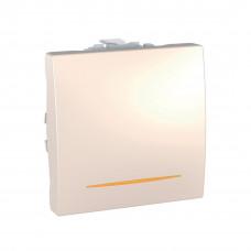 Одноклавишный переключатель с контр.ламп 10А, 2 модуля, Слоновая кость, Unica MGU3.203.25S
