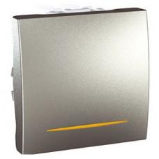 Одноклавишный переключатель с контр.ламп 10А, 2 модуля, Алюминий, Unica MGU3.203.30S