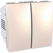 Двухклавишный выключатель 10А, 2 модуля, Слоновая кость, Unica MGU3.211.25