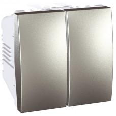 Двухклавишный выключатель 10А, 2 модуля, Алюминий, Unica MGU3.211.30