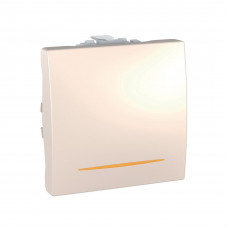 Одноклавишный выключатель с контр.ламп 16А, 2 модуля, Слоновая кость, Unica MGU3.261.25S