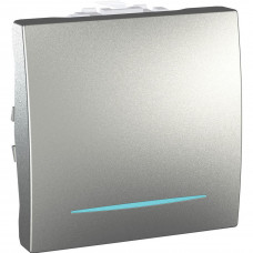 Одноклавишный переключатель с инд.ламп 16А, 2 модуля, Алюминий, Unica MGU3.263.30N