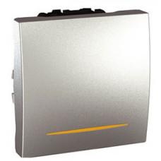 Одноклавишный переключатель с контр.ламп 16А, 2 модуля, Алюминий, Unica MGU3.263.30S
