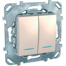 Двухклавишный выключатель с контр.лампой 10А, 2 модуля, Слоновая кость, Unica MGU5.0101.25NZD