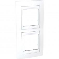 Рамка 2-постовая вертикальная, Белый, Unica Plus MGU6.004V.18