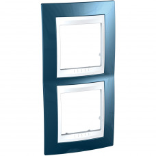 Рамка 2-постовая вертикальная, Голубой лед, Unica Plus MGU6.004V.854